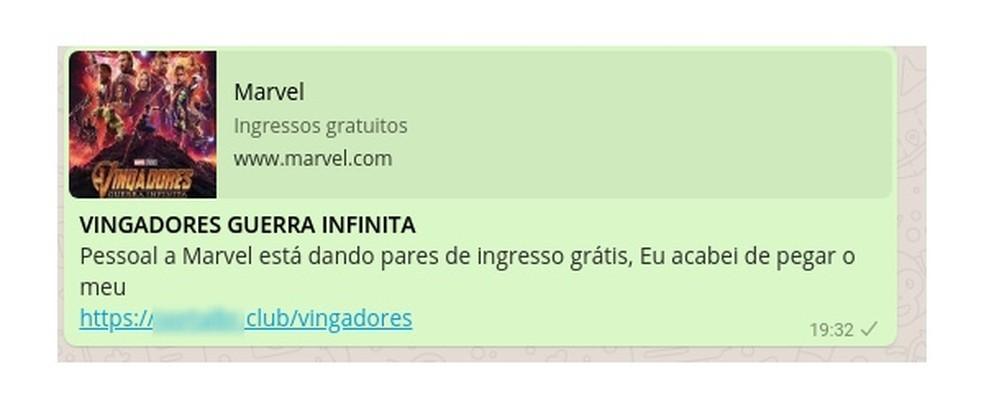 """Mensagem sobre """"Vingadores"""" mostra site oficial da Marvel; ao clicar, usuário chega a página falsa (Foto: Divulgação / PSafe)"""