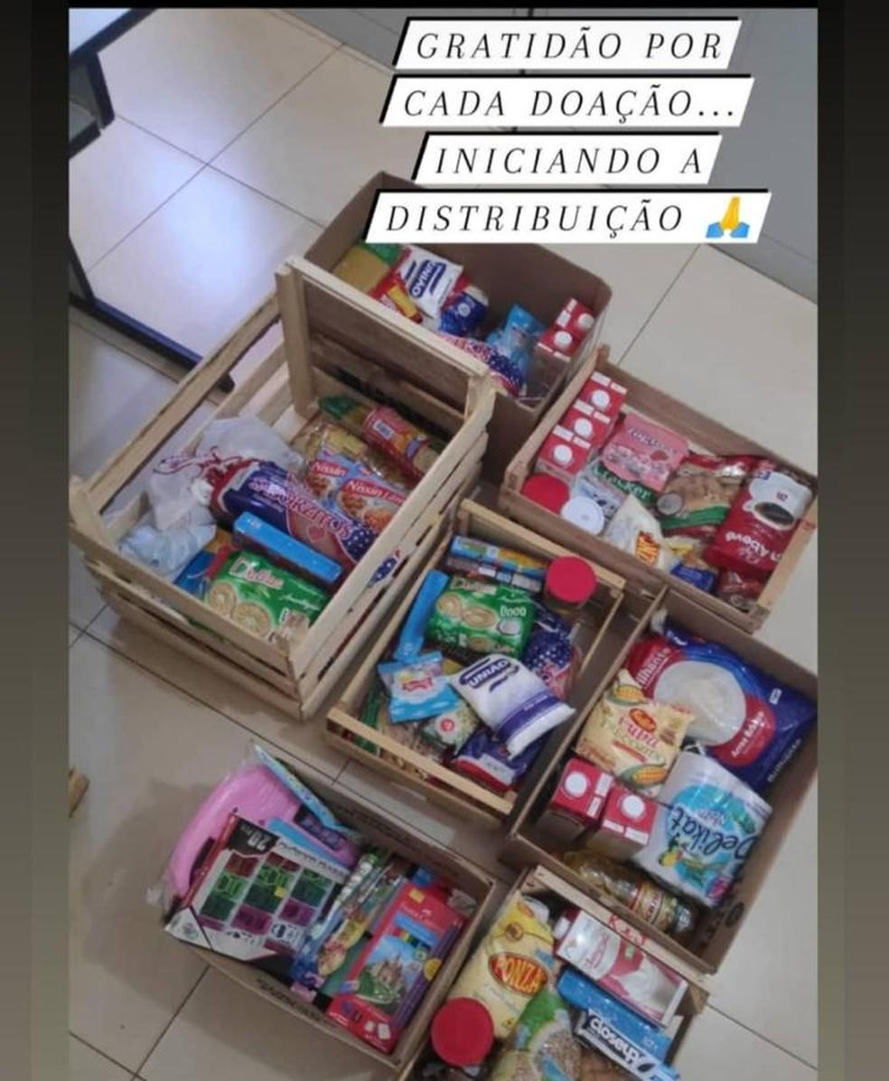 Alimentos já arrecadados e que foram distribuídos para famílias carentes de MS — Foto: Redes Sociais/Reprodução