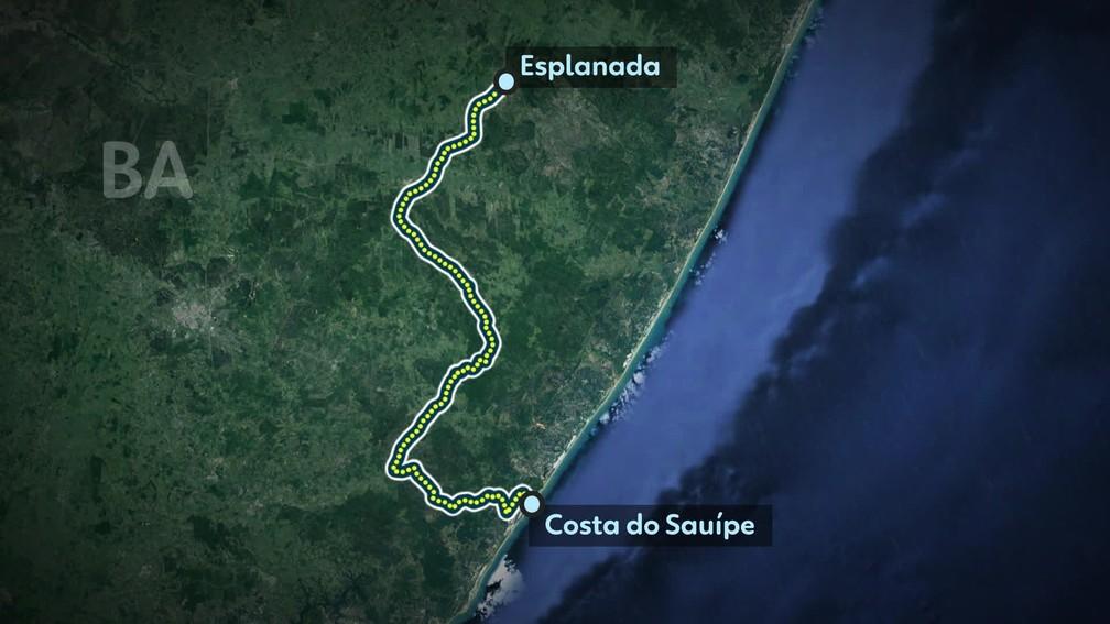 Percurso feito em carro por Adriano da Nóbrega, segundo a polícia — Foto: Editoria de Arte TV Globo