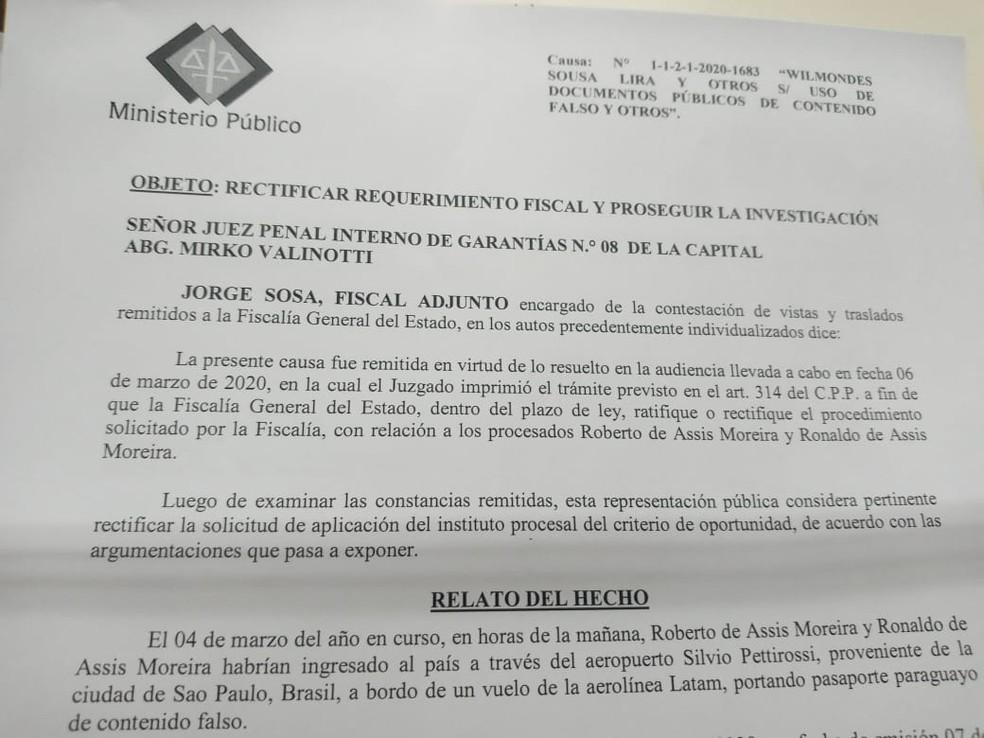 Documento emitido pelo Ministério Público do Paraguai que determina detenção de Ronaldinho Gaúcho — Foto: Reprodução