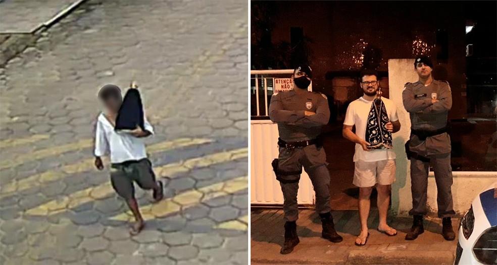 Imagem de Nossa Senhora Aparecida foi roubada em São Gabriel da Palha, ES. Santa foi encontrada e devolvida à igreja. — Foto: Divulgação/PMES