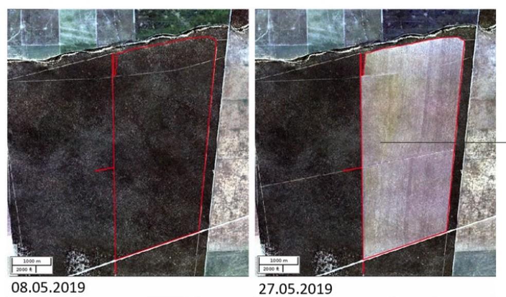 Área de 1.148 hectares no município de Jaborandi (BA), desmatada entre os dias 8 e 27 de maio de 2019, alcançando uma média de 60 ha por dia - a maior velocidade média máxima detectada — Foto: Reprodução/Relatório Anual de Desmatamento no Brasil/MapBiomas