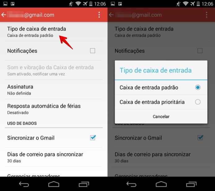 Alterando caixa de entrada padrão do aplicativo (Foto: Reprodução/Helito Bijora)