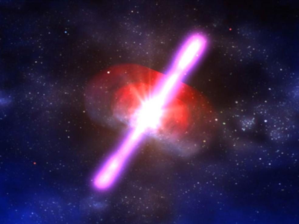 Ilustração de uma erupção de raios gama — Foto: NASA/D.Berry