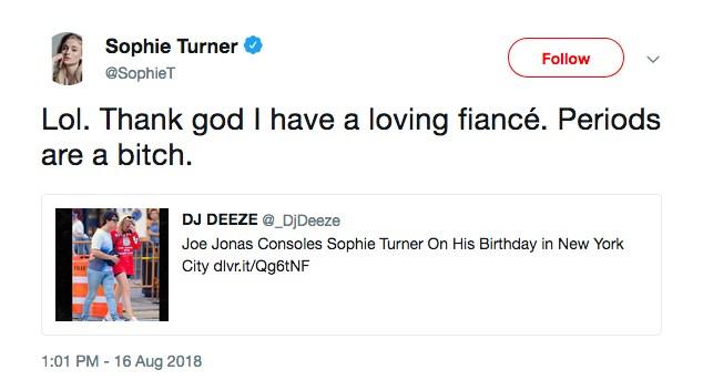 A atriz Sophie Turner justificando a foto na qual foi flagrada chorando ao lado do noivo Joe Jonas (Foto: Twitter)