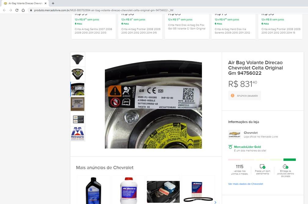 Loja oficial da Chevrolet no Mercado Livre anuncia airbag da Takata para o Celta — Foto: Reprodução