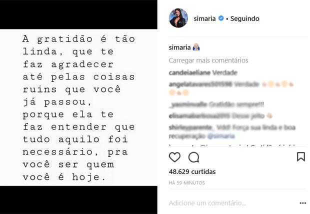 Simaria faz post no Instagram sobre gratidão (Foto: Reprodução)