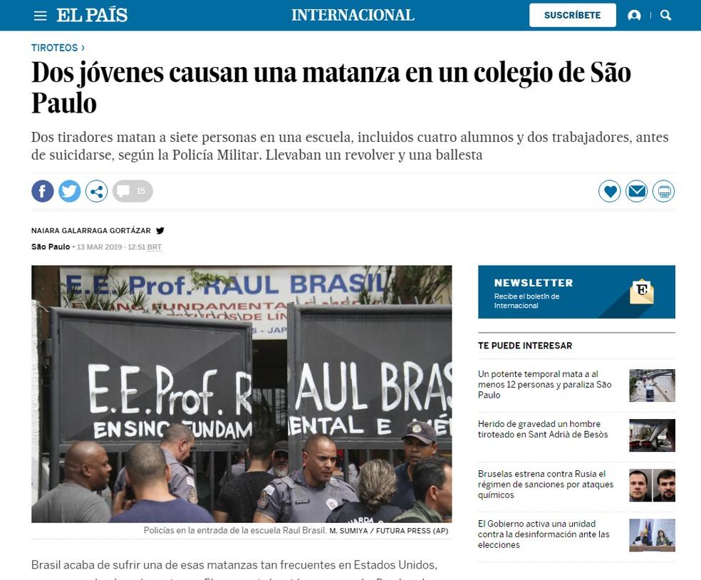 Mortes em escola de Suzano são notícia no jornal espanhol 'El País' — Foto: Reprodução/El País