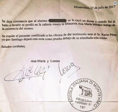 Carta enviada ao Ratón Pérez, a Fada do Dente hispânica