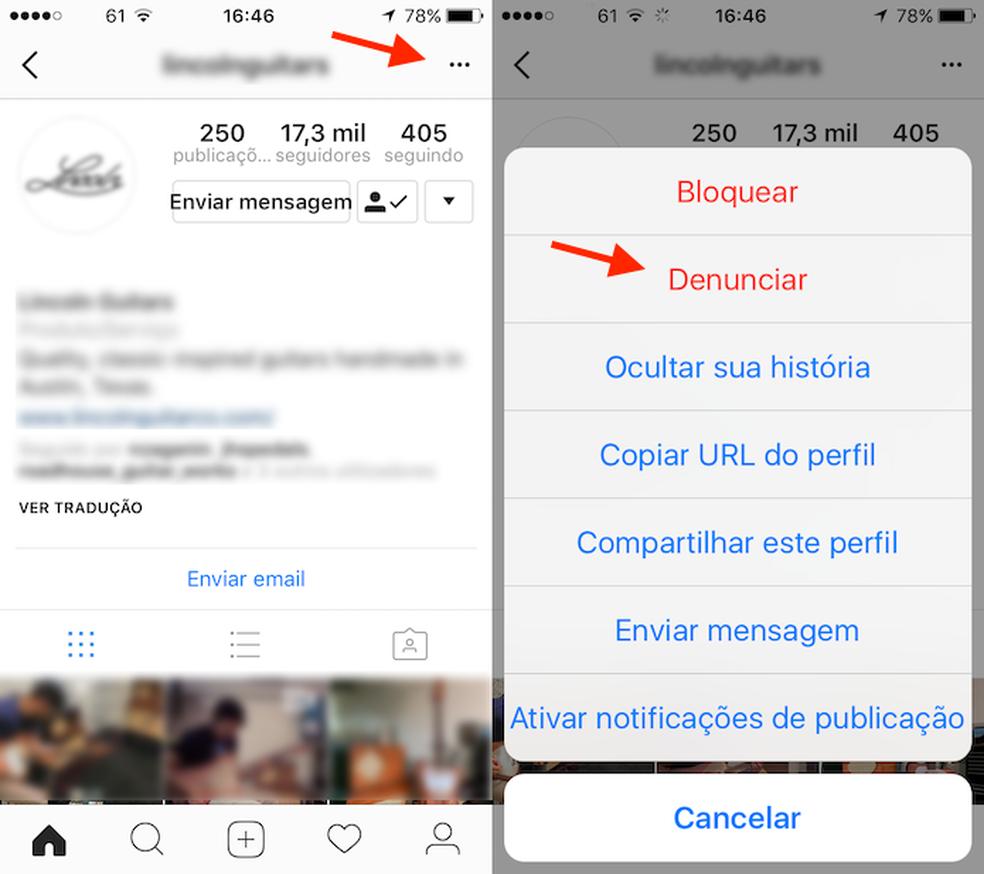 Caminho para denunciar um perfil no app do Instagram para iPhone — Foto: Reprodução/Marvin Costa
