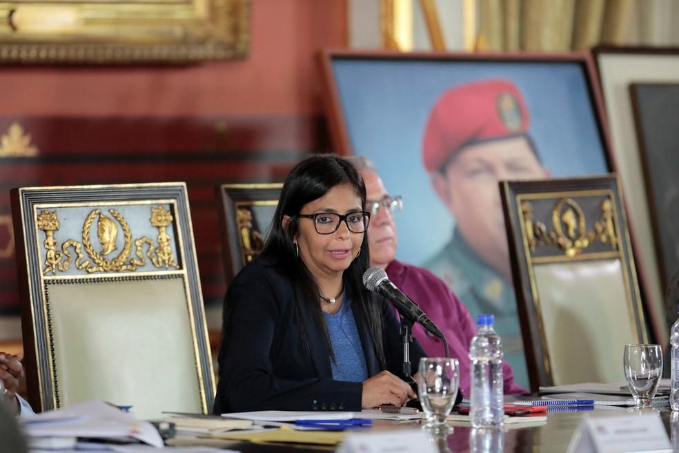 Presidente da Assembleia Constituinte da Venezuela, Delcy Rodriguez fala durane sessão em 5 de agosto (Foto: REUTERS/Marco Bello/File Photo)