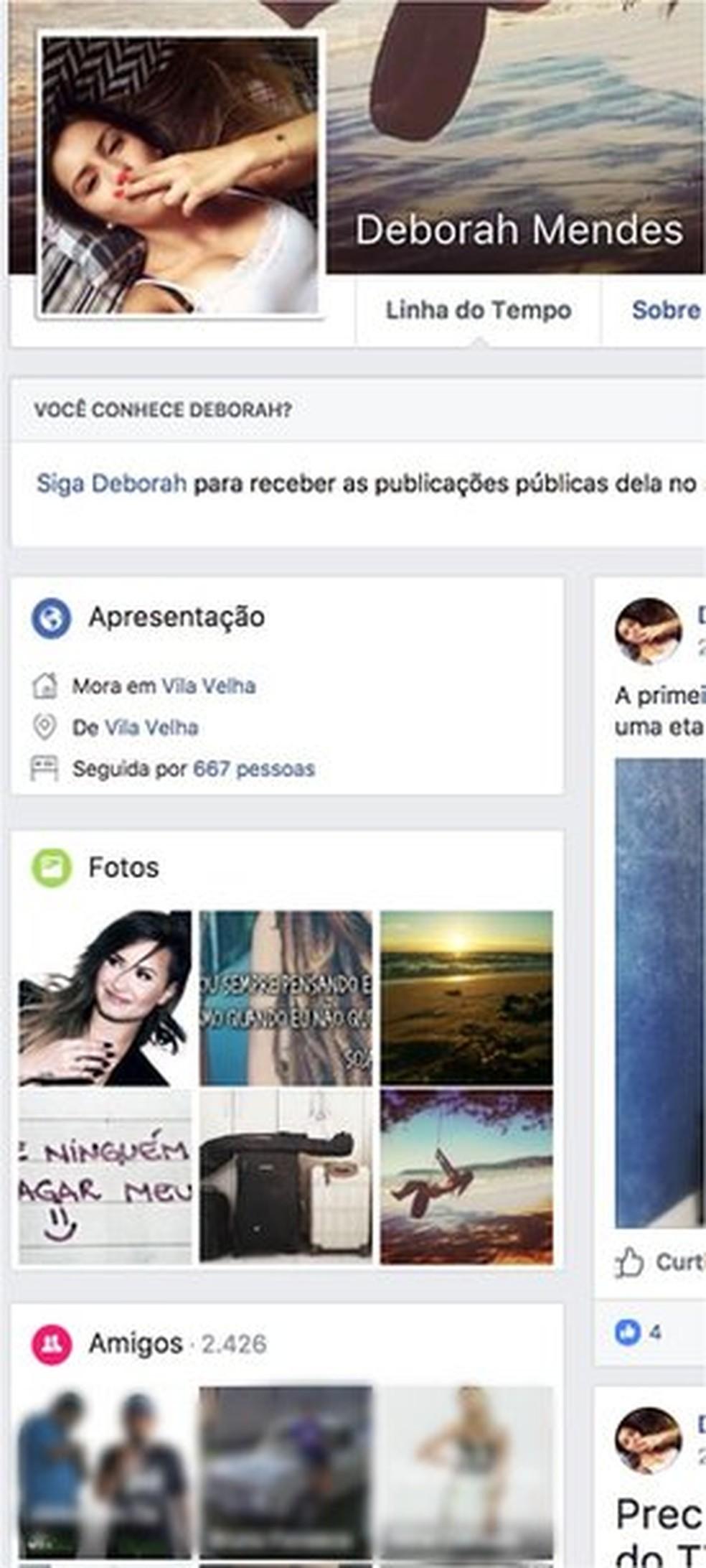 Usuária identificada como falsa, com foto de perfil de banco de dados, tem 2.426 amigos (Foto: Reprodução/Facebook)