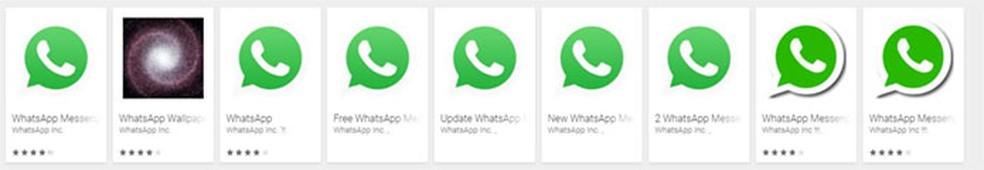 Apps falsos usam nomes de aplicativos conhecidos, como o Whatsapp — Foto: Reprodução