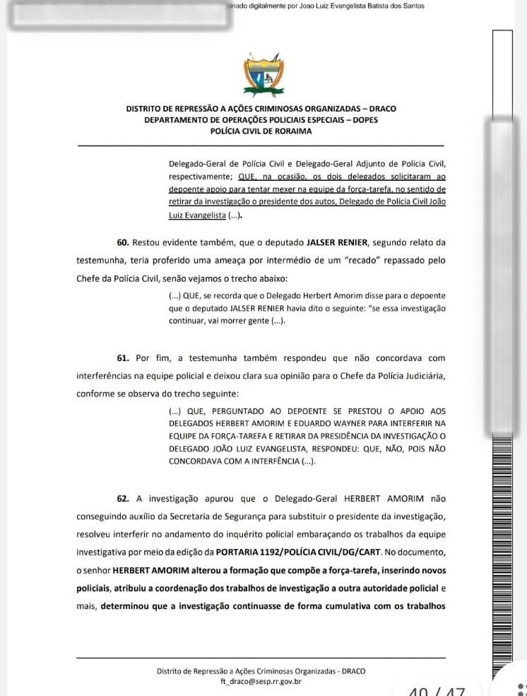 Delegado-geral da Polícia Civil tentou interferir em investigação sobre sequestro de jornalista em Roraima, aponta inquérito