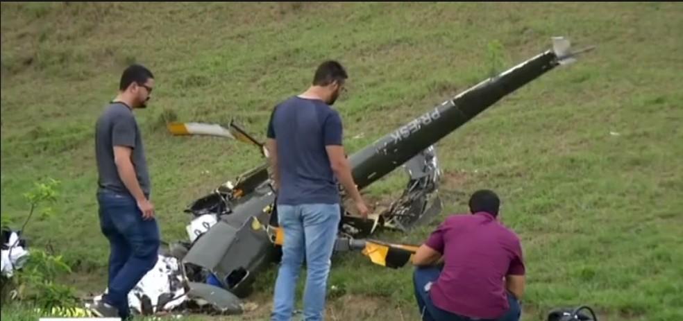 Helicóptero que caiu em Rio Claro não tinha permissão para voar, diz Anac — Foto: Reprodução