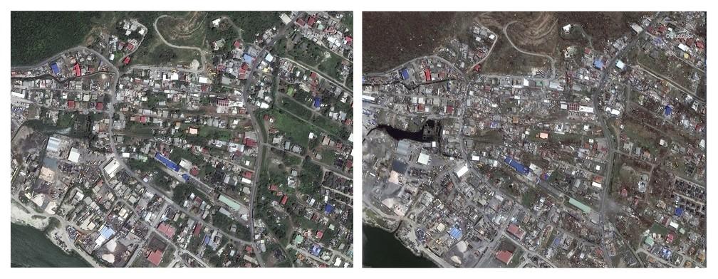 Antes e depois da praia de Philipsburg, no lado holandês da ilha de Saint Martin (Foto: DigitalGlobe via AP)