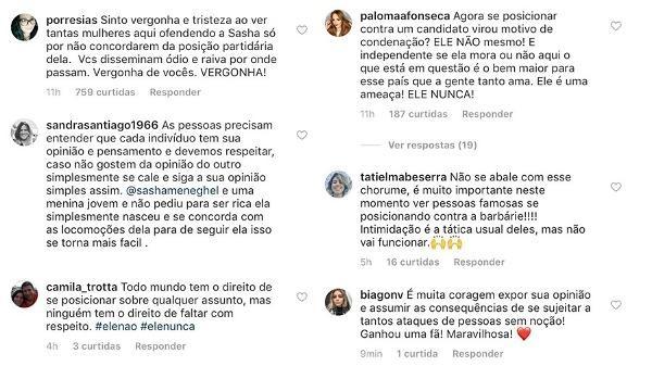 Mulheres sam em defesa de Sasha nas redes sociais após receber ofensas de defensores de Bolsonaro (Foto: Reprodução/Instagram)