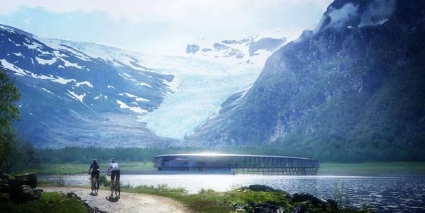 Hotel sustentável é construído na beira de geleira na Noruega (Foto: Divulgação)