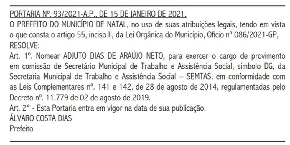 Adjuto Dias, filho do prefeito de Natal, foi nomeado na SEMTAS — Foto: Diário Oficial do Município