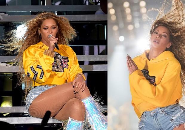 Beyoncé no Coachella e em foto postada em seu Instagram logo em seguida (Foto: Getty Images/ Reprodução Instagram)
