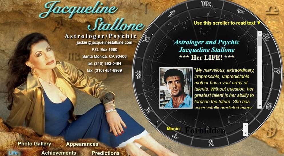 Site de Jacqueline Stallone, que diz já ter lido as nádegas de famosos de Hollywood