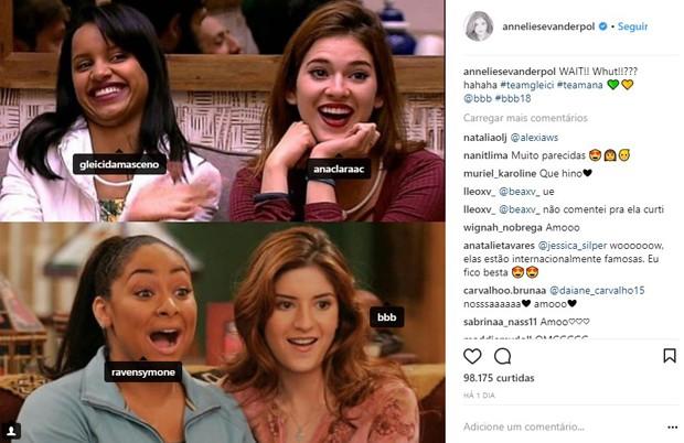 Atriz de As Visões da Raven compara personagens com sisters Gleici e Ana Clara (Foto: Reprodução/Instagram)
