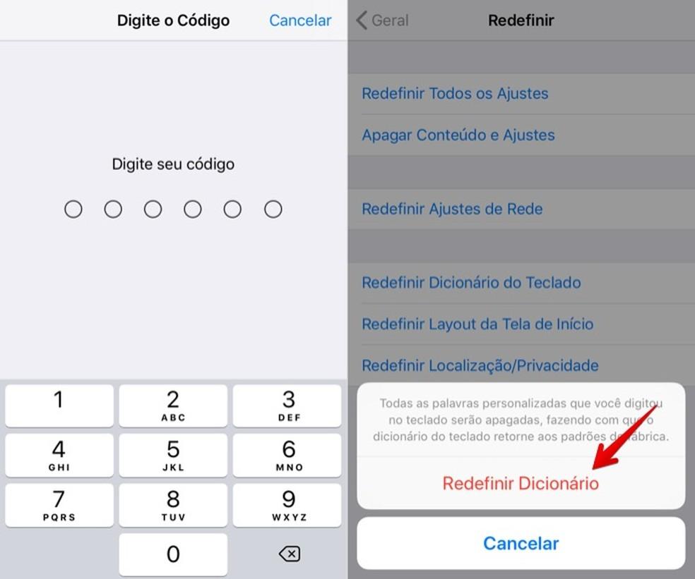 Confirme que deseja restaurar as configurações do teclado do iPhone (Foto: Reprodução/Helito Bijora)