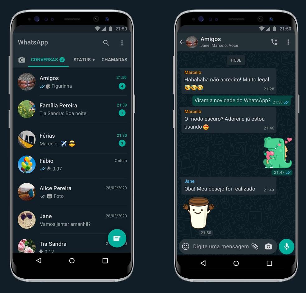 WhatsApp com modo escuro no Android — Foto: Divulgação/TechTudo