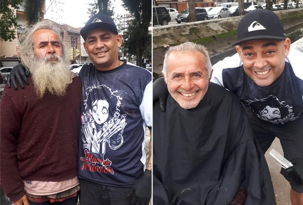 Morador de rua recebeu corte de cabelo e barba de graça em Santos, SP (Foto: Arquivo Pessoal)