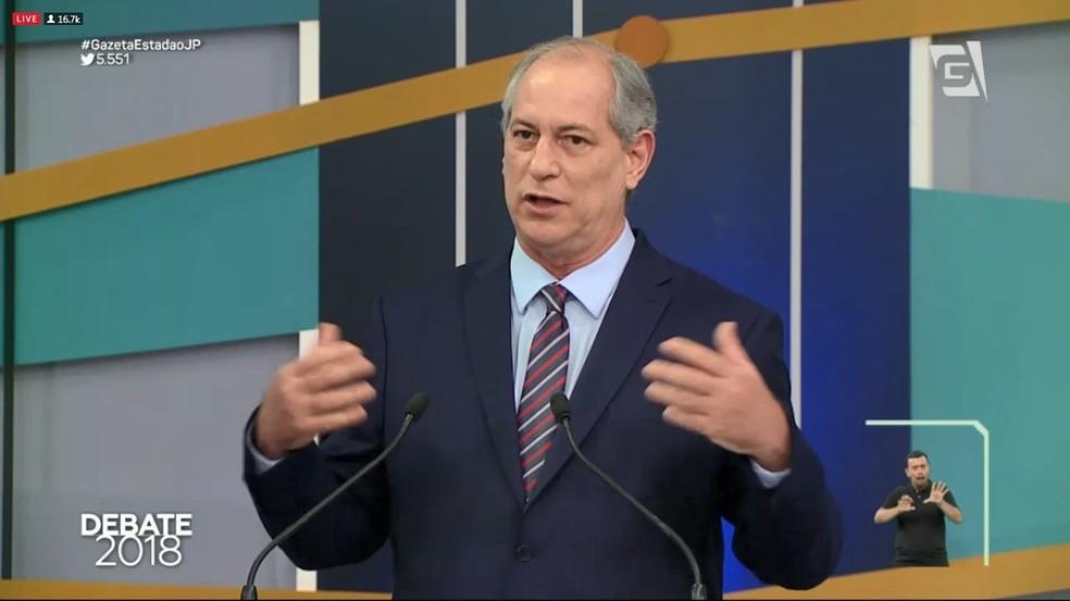 Ciro Gomes (PDT) no debate da TV Gazeta (Foto: Reprodução/TV Gazeta)