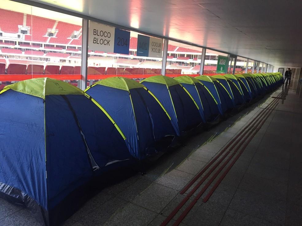 Barracas da área Camping da 3ª edição da Campus Party Brasília — Foto: G1 DF