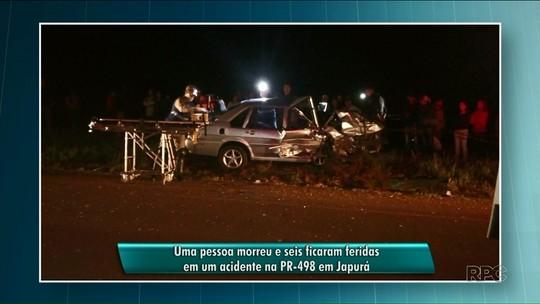 Um pessoa morreu e seis ficaram feridas em acidente na PR-489
