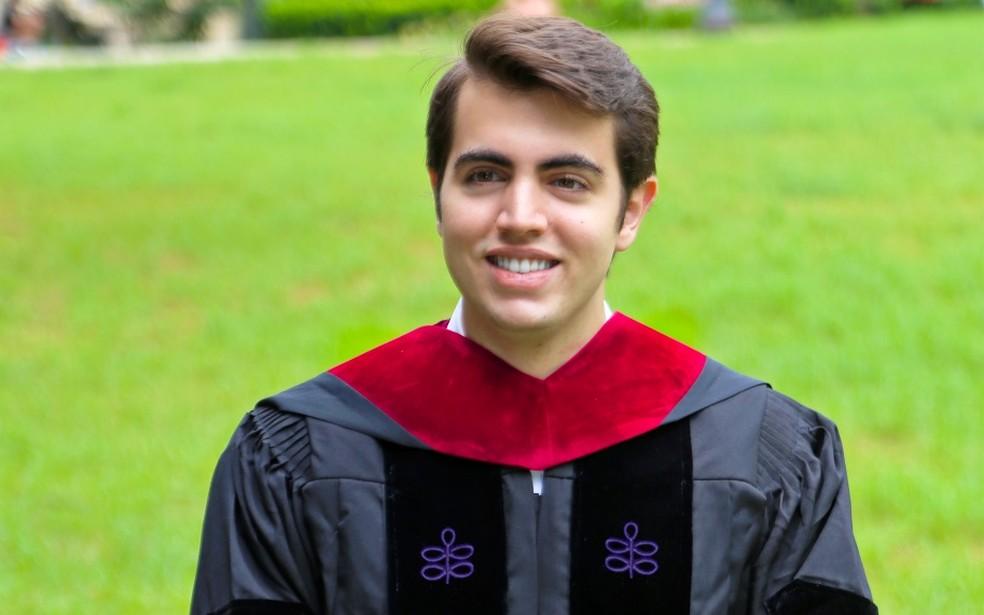 Brasiliense Mateus Costa Ribeiro na Universidade de Harvard, em 2020 — Foto: Arquivo pessoal