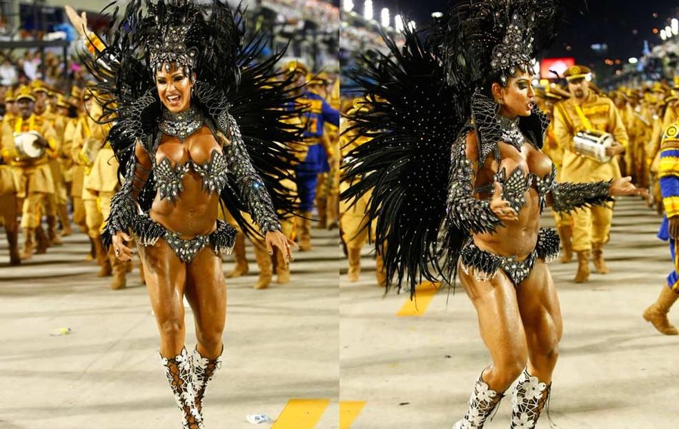 Rainha da Tijuca, Gracyanne Barbosa em dois momentos — Foto: Rodrigo Gorosito/G1