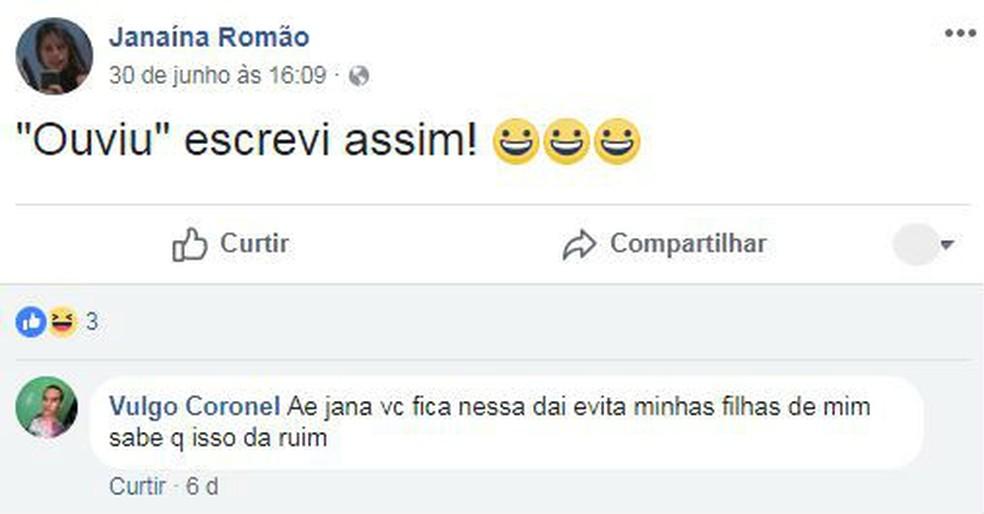 Stefanno Jesus de Amorim, ex-marido de Janaína Romão, comenta em publicação da mulher no Facebook (Foto: Facebook/Reprodução)