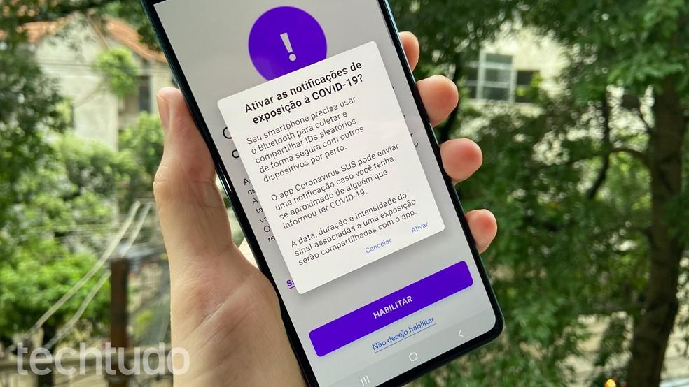 App Coronavírus - SUS informa que o rastreio de exposição requer a ativação do Bluetooth — Foto: Thássius Veloso/TechTudo
