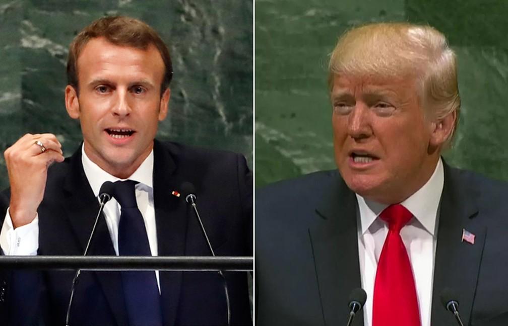 Emmanuel Macron e Donald Trump durante seus respectivos discursos na 73ª Assembleia Geral da ONU nesta terça-feira (25), em Nova York — Foto: Richard Drew/AP/Reprodução