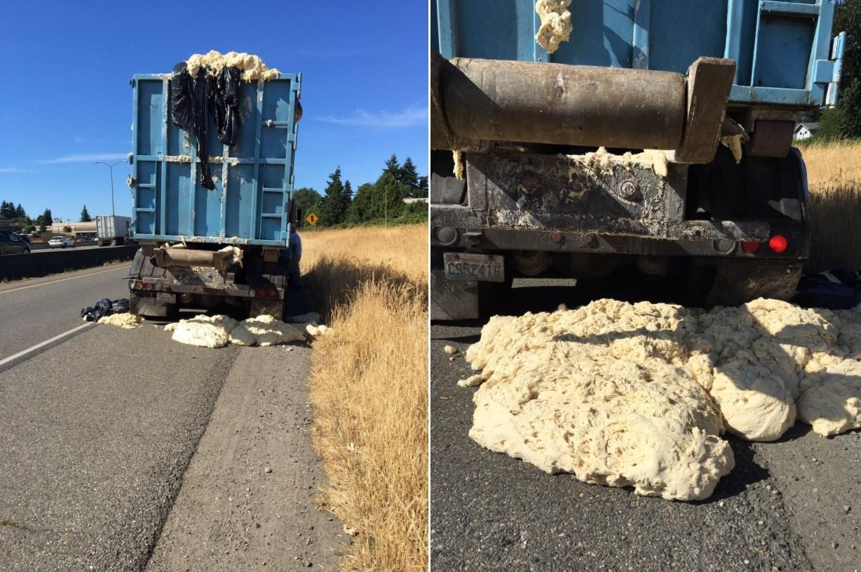 Massa fermenta e transborda de caminhão