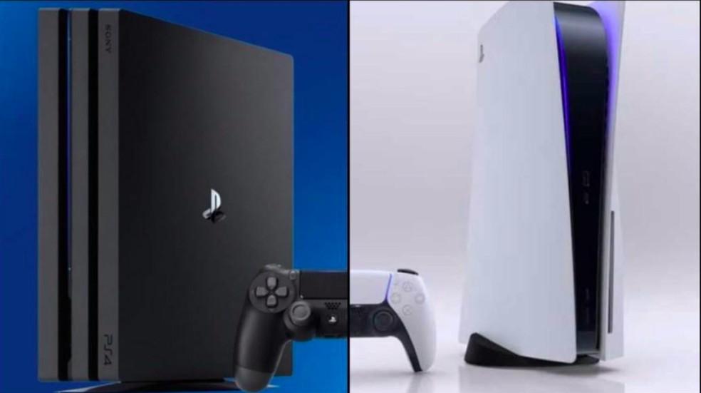 PS4 e PS5 têm diferenças gerais no visual — Foto: Reprodução/Felipe Vinha