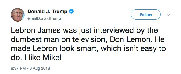 O tuíte com a resposta de Donald Trump a LeBron James (Foto: Twitter)