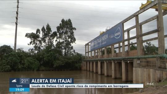 Defesa Civil aponta risco de rompimento em barragens e reservatórios em Itajaí