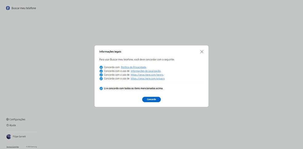 Faça login com a mesma conta Samsung usada no aparelho que deseja localizar — Foto: Reprodução/Filipe Garrett