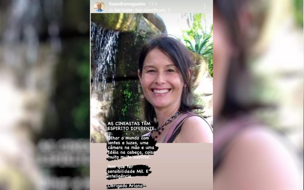 Homenagem de Lisandro Nogueira à cineasta Adriana Rodrigues, que morreu em Goiânia — Foto: Reprodução/TV Anhanguera