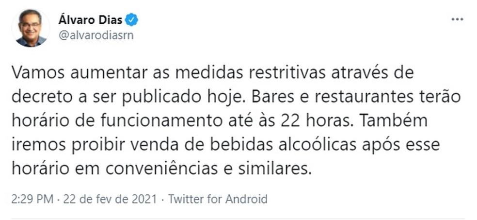 Álvaro Dias, prefeito de Natal, publicou medidas em rede social — Foto: Reprodução