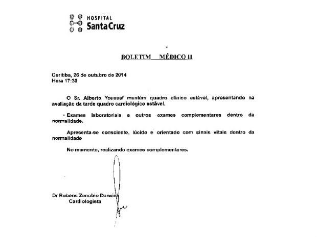 Novo boletim de Alberto Youssef foi divulgado no fim da tarde deste domingo (26) (Foto: Reprodução)