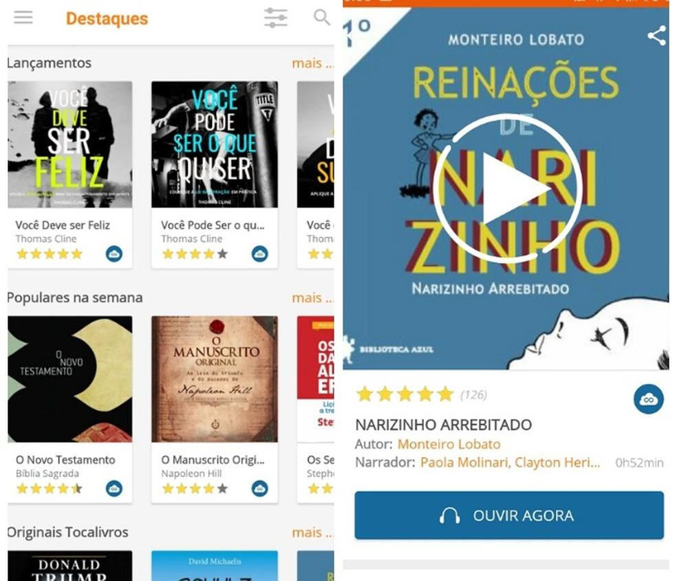 É possível ouvir audiolivros gratuitos em português por meio dos Audiobooks do Tocalivros — Foto: Reprodução/Graziela Silva