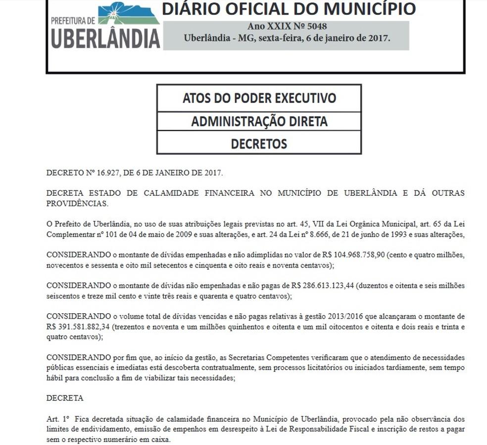 Termina prazo do decreto de calamidade financeira em Uberlândia | Triângulo  Mineiro