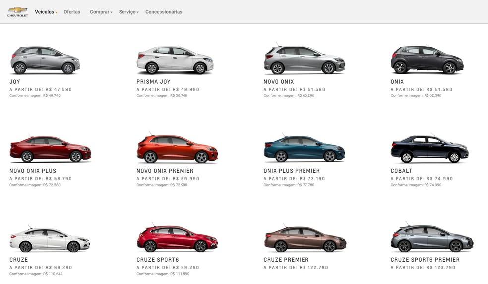 Página de preços da Chevrolet — Foto: Reprodução