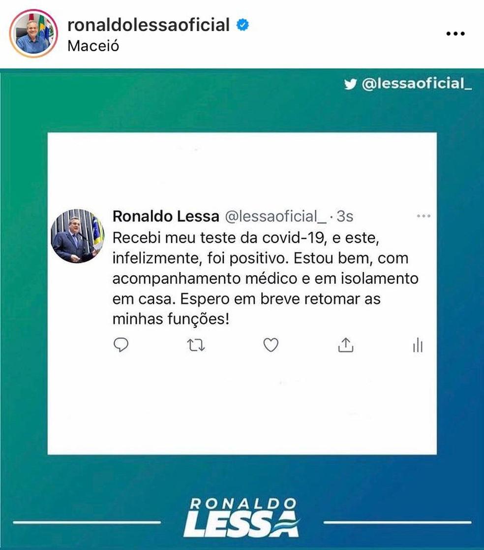 Vice-prefeito de Maceió, Ronaldo Lessa divulgou nas redes sociais que está com Covid-19 — Foto: Reprodução