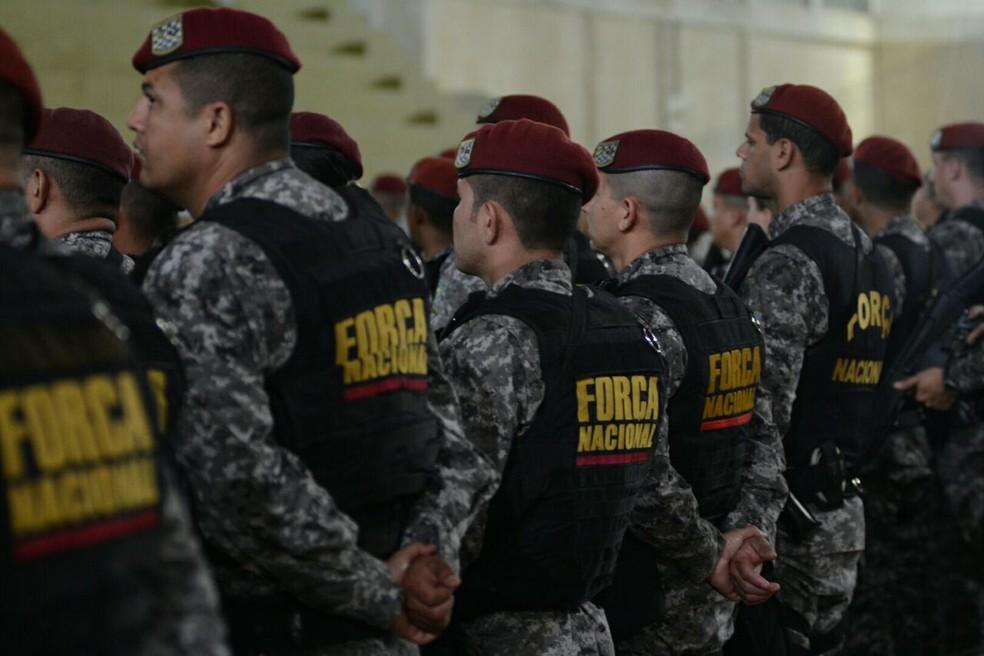 Policiais durante a apresentação da Força Nacional no Rio Grande do Sul (Foto: Rodrigo Ziebell/SSP-RS)
